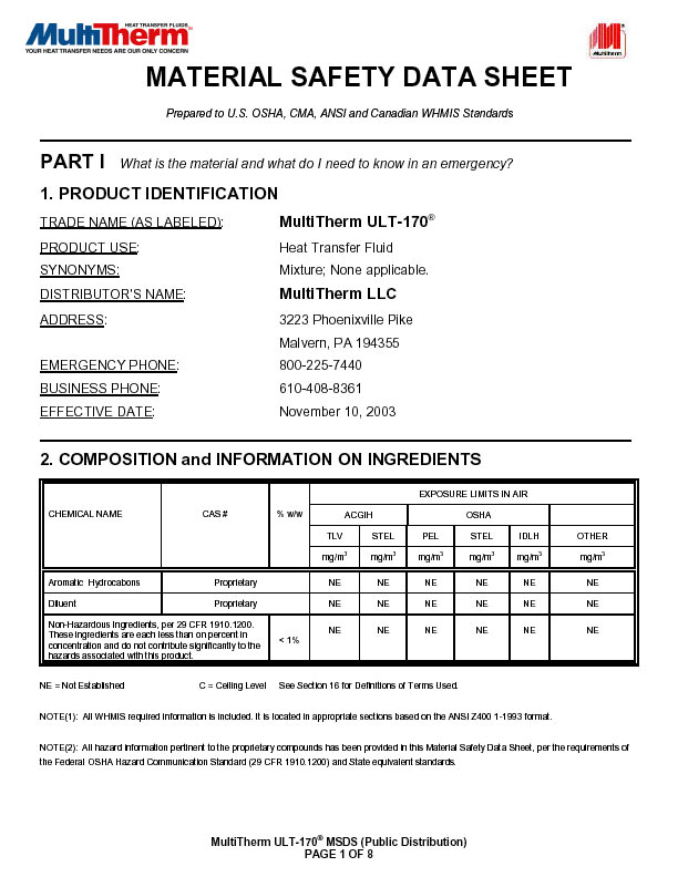Material Safety Data Sheet Images